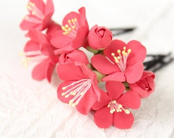 Hair bobby pin polymer clay flowers. Set of 6.   flowers