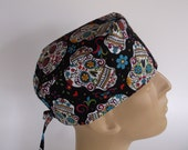 Sugar Skulls Black Men's Surgical Scrub Hat with sweatband option - Scrub Cap, Bakers Hat, 1+900