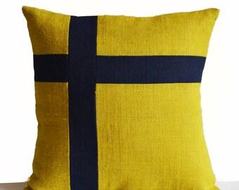 Burlap Pillow Cover, Nautical Pillow, Oceanic Pillow, Yellow Blue Pillow, Swizz Cross Pillow, Dorm Decor Gift, Luxury Valentines Day Gifts