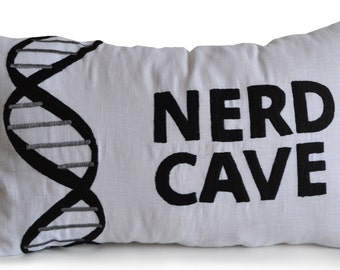 Decorative Throw Pillow Cover White Linen Black Nerd Cave Embroidery -12x20 Lumbar -Gift For Him -Bachelor Pad -Dorm Decor- Back to School