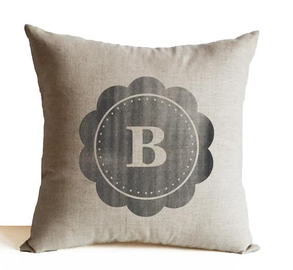 Linen Monogram Throw Pillow