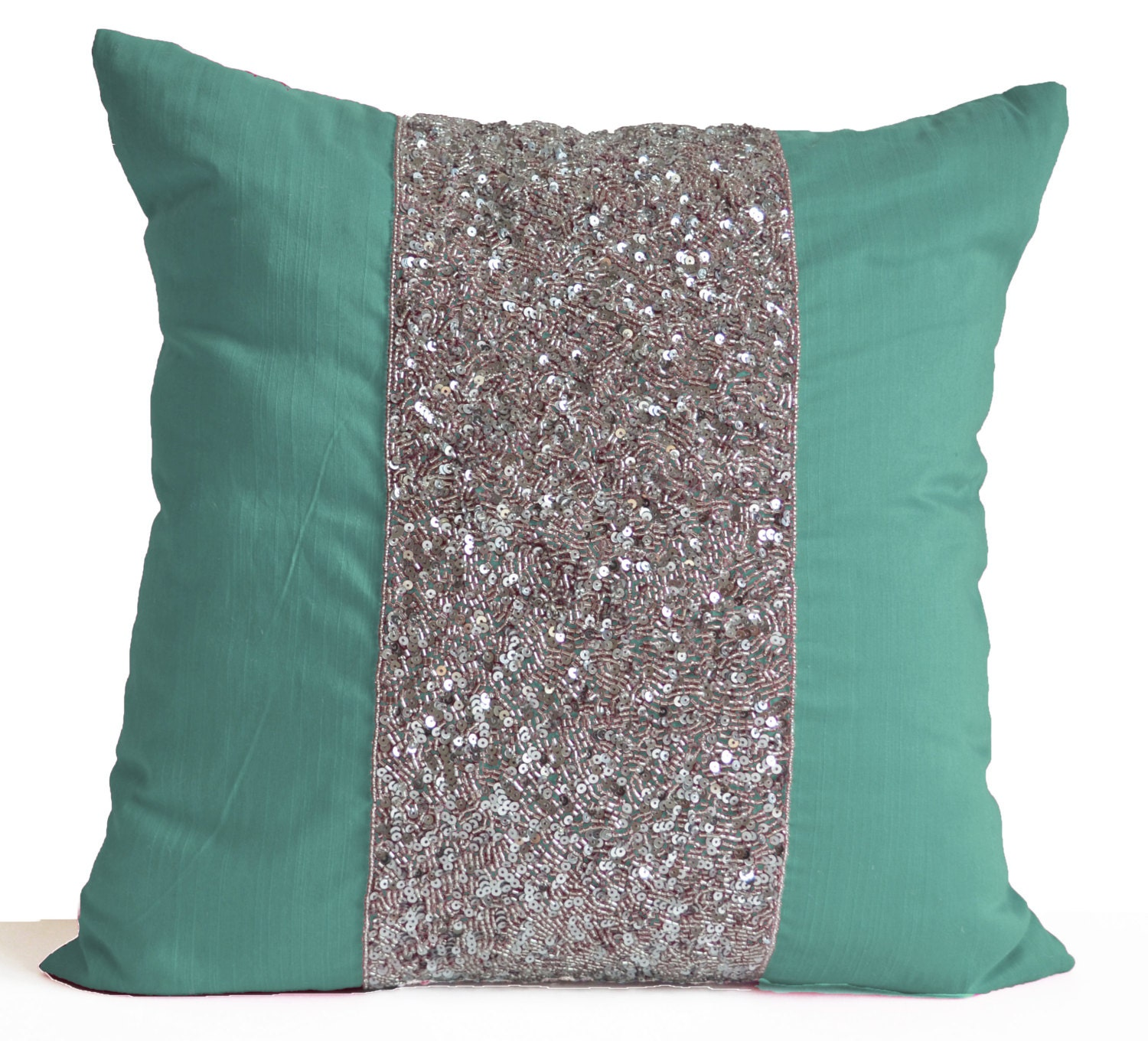 Decorative Pillows With Teal : Teal Decorative Pillow Cushion Cover Teal Pillow Silver Sequin