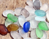 34 pcs of unusual sea glass colors from the Peruvian coast of South America - HU-0018 beach glass, blue, teal, seafoam