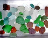 50 pc Unusual and interesting shapes and colors - teal, seafoam, gray-blue, cinnamon sea glass pieces for your craft * Peruvian coast HU0009