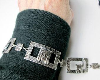 Vintage 1950s Peruvian Silver Bracelet, Llama & Inca Indian Design, Souvenir, Hand Engraved, Lima Peru.