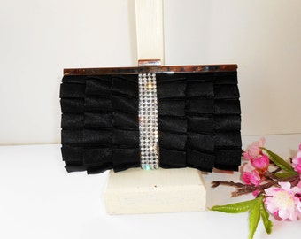 Black Evening Bag, Vintage Black Bag, Rhinestone Trim, Dazzling Black Bag, Black Clutch Bag,Glamorous Purse, Party Bag EB-0118