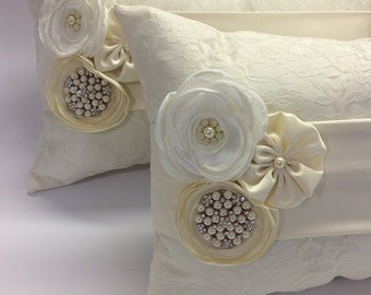 Set of 2 kneeling pillows lace wedding ring pillow  / wedding pillow