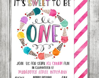 Watercolor First Birthday Ice Cream Invite - Ice Cream Birthday Invite - Ice Cream Shoppe - 5x7 JPG (Front and Back Design)
