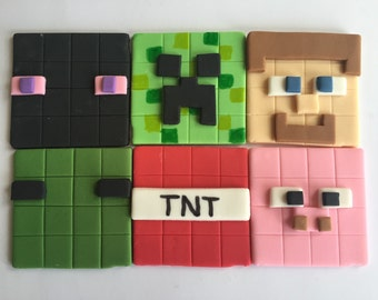 Fondant Block Character Cupcake Cookie Toppers Inspired by Minecraft