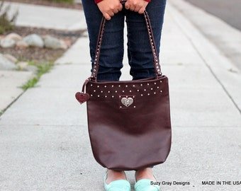 Brown Leather Tote - Deep Brown Leather Tote - Rich Brown Leather Bag - Studded Leather Bag - Brown Studded Leather Bag