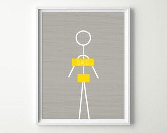 Bathroom Wall Art - Bathroom Decor - Women Gals Restroom Sign - Funny Bathroom Sign - Women's Bathroom Decor - Shown in Pewter Gray & Yellow