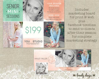 Photography Senior Marketing board PLUS Facebook Timeline Templates INSTANT DOWNLOAD