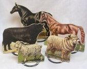 Vintage LOT of Five Pressed Paper Farm Animals and Metal Stands / Horses Sheep Bull / Animals Teaching Tool