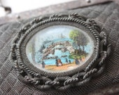 Darling and Unusual Metal Purse with Landscape Scene Under Glass