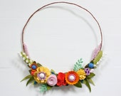 "Felt Flower Wreath - ""Hillside Garden"" - Size 13 inches"