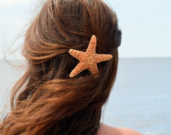 Jumbo Starfish Hair clip, Barrette or Pinch Clip, nautical hairclip, beach wedding, mermaid accessories