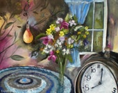 Play time at 8 by Gerda Smit, bunch of flowers with clock and lightbulb,carpet to play on infront of window