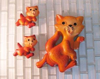 Orange Cat Kitten Chalkware Wall Plaques