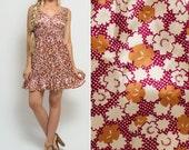 Floral sundress Vintage silky 90s RUFFLE patterned MINI sleeveless spring boho pretty sweet SUMMER dress