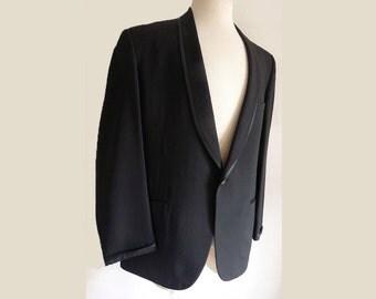 Vintage Tuxedo suit 1949 1968 Shawl collar Coat Bond Clothes Tux 42 Black Linen or Silk Partially lined