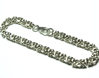 Square Sterling Silver Byzantine Chainmaille Bracelet