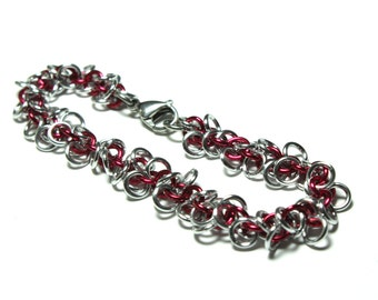 Shaggy Loops Chainmaille Bracelet | Hand Crafted Chainmaille Jewelry | Handmade Bracelet | Red and Silver | Anodized Aluminum