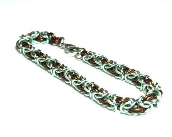 Mint Green and Brown Anodized Aluminum Byzantine Chainmaille Bracelet