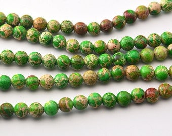 "16""   Apple  Green  Imperial Jasper  Round Beads--6mm"