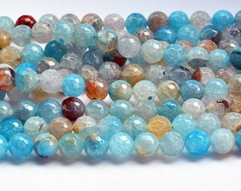 """15""""    Teal   Blue  Faceted  Dragon  Veins  Agate  Round  Beads , 10mm  8mm"""