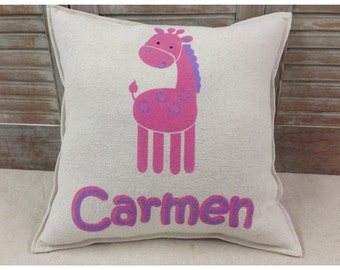 Decorative Pillow with a Giraffe & name. COMPLETE pillow.
