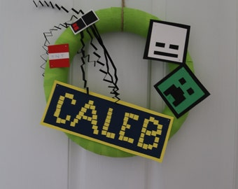 Minecraft inspired birthday wreath, door decoration, room decor