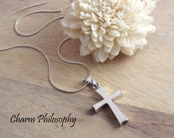 Cross Necklace - 925 Sterling Silver Jewelry - Personalized Initial and Birthstone - Cross Pendant