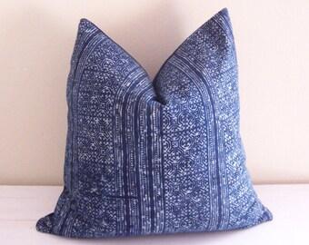 Navy Blue Indigo Vintage Hmong Handblocked Tribal Pillow Cover // 17 x 17
