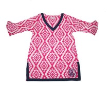 Tunic Personalized Hot Pink Aztec, Monogrammed Tunic,Beach Cover, Swimsuit Cover, Pool Tunic, Beach Cover Up Large Pink Aztec, Navy Trim