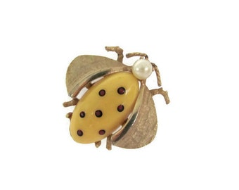 Vintage Insect Brooch, 1970's Gold Insect, Bug Brooch, Pin, Jelly Belly Insect, Bug Brooch, Pin, Animal Brooch, 1970's Brooch, Jewelry