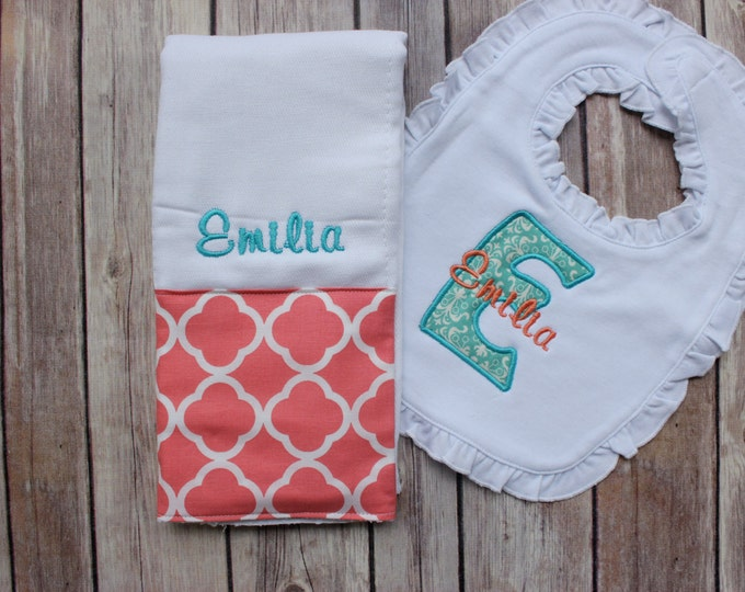 Monogrammed Baby Girl Coral Aqua Burp Cloth Set, Coral Teal Baby Gift, Personalized Baby Set, Baby Shower Gift, Girl Custom Burp Cloth Set