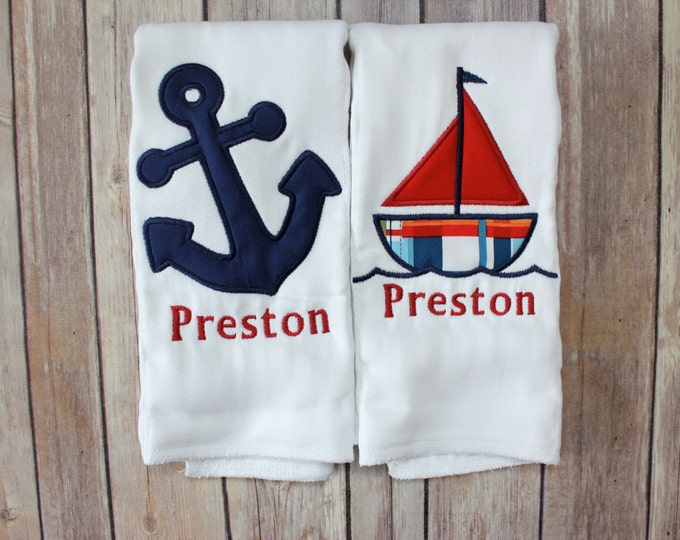 Monogrammed Burp Cloth Set, Baby Boy Burp Cloth Set, Nautical Burp Cloth, Personalized Burp, Sailboat Burp, Anchor Burp, Nautical Nursery