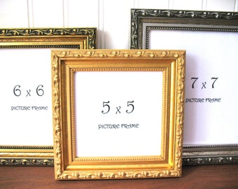 SQUARE FRAME Ornate Gilded Antique Gold & Silver Picture Instagram Photo Frame 3x3 4x4 5x5 6x6 7x7 8x8 9x9 Glass Hollywood Regency Decor