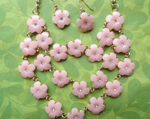 Pink flower cluster cascade necklace and earring set