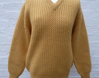 Jumper yellow knit sweater scottish made wool sweater chunky knit clothing mens winter sweater 70s gift clothing jumper ecofriendly sweater.