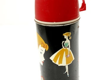 Vintage 1962 Barbie Thermos Mattel mid century retro Barbie
