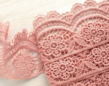 "Vintage Dusty Pink Crocheted Trim, Flower Pattern, 23/8"" (6.1 cm) Wide x 3 Yards (3 Meters), Only ONE PIECE."