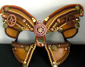 Steampunk Masquerade Mask, Butterfly Mask, Leather Mask, Clock Gears - The Monarch