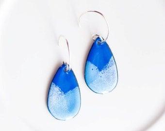 Enamel Teardrop Earrings in Casual Blue Jean Colors, Handmade Sterling Ear Wires, Drop Earrings, Dangle Earrings, Artsy Earrings, Boho Chic