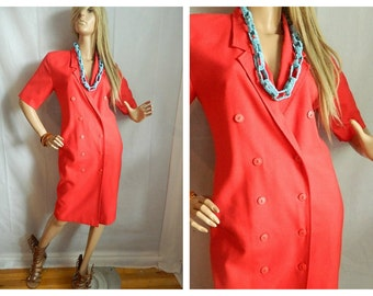 Vintage Red Jacket Dress 1980 style Buttons Size S-M