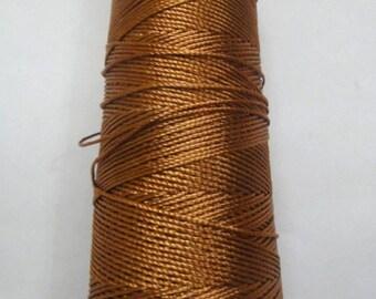 Dark Golden Brown - Viscose Rayon Art Silk Thread Yarn - Embroidery Crochet Knitting Lace Jewelry - 30 grams - 150 Yards - 1 mm Thick