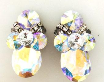 Vintage Iridescent Cluster Stunning Rhinestone Earrings