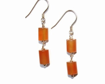 Silver and Carnelian Chain-Linked Earrings