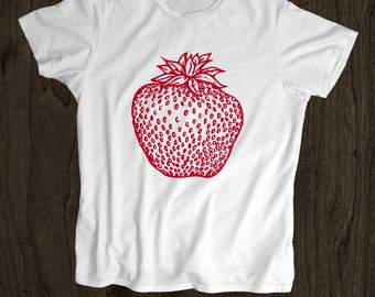 Strawberry T Shirt - Kids T Shirt -Toddler Shirt - Screen Printed -100% Cotton-