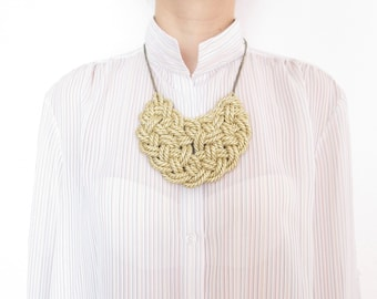 Gold Rope necklace Gold Statement necklace